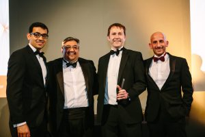Beach Horizon's Partners Sanjeev Lakhanpal, Dr. Paul Netherwood and David Beach accepting the 'Management Firm of the Year' Award - as remitted by Sponsor ABN Amro Clearing Representative